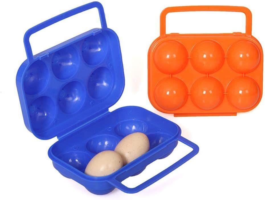 2 cajas de huevos de plástico, 6 rejillas de almacenamiento portátil para huevos, bandeja de huevos, bandeja con asa para camping, picnic.