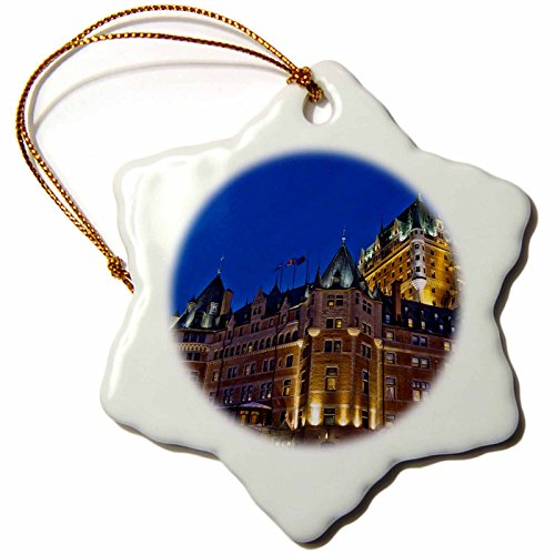 (3dRose orn_135400_1 Chateau Frontenac Hotel, Quebec City, Canada-Cn10 Ksu0046-Keren Su-Snowflake Ornament, 3-Inch, Porcelain)