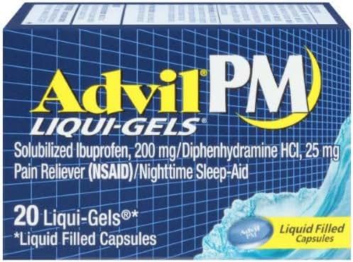 Advil PM Pain Reliever/Nighttime Sleep-Aid Liqui-Gels (Pack of 2)