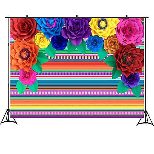 (Fiesta Theme Backdrop for Photography Mexican Festival Photo Background Studio Props 7x5FT Colorful Stripes and Paper Flowers Background Summer Birthday Luau Party Decorations )