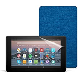 All-New Fire 7 Essentials Bundle with Fire 7 Tablet (8 GB, Black), Amazon Cover (Marine Blue) and Screen Protector (Clear)