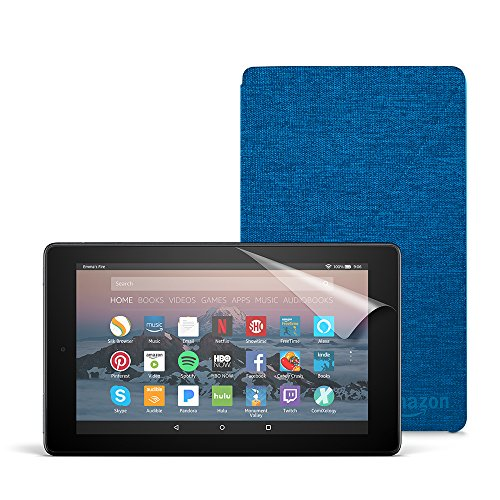 Fire 7 Essentials Bundle with Fire 7 Tablet (8 GB, Black), Amazon Cover (Marine Blue) and Screen Protector (Clear)