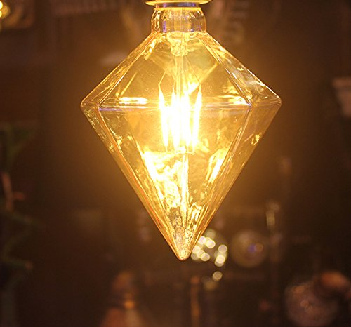 Incandescent Chandelier Amber (Diamond Edison Bulb,4W(40W Incandescent Equivalent) Energy Saving Bulb (Amber Glass), 2300K Warm Yellow,Dimmable, Suitable for Chandelier Wall Lamp Reading Lamp (2 Pack))