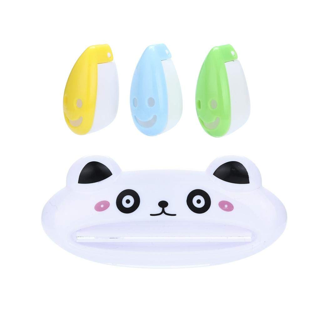 Tpingfe Toothpaste Dispenser, Cartoon Animal Toothpaste Squeezer Smiley Face Toothbrush Holder (F)