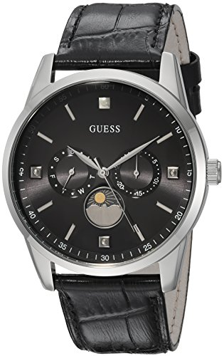 GUESS Men's Quartz Stainless Steel and Leather Dress Watch, Color:Black (Model: U0868G1)