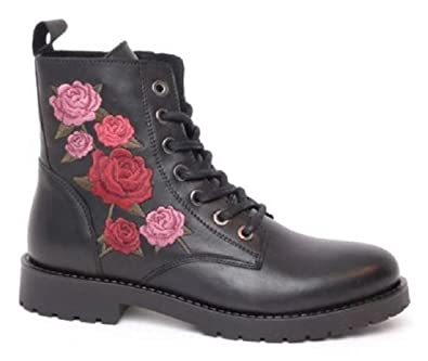 buy popular 40a8c 3dcb4 Monshoe Damen Biker Boot Stiefelette Kurzstiefel Schnürstiefel schwarz  ausgefallen trendy mit Rosenmuster robust