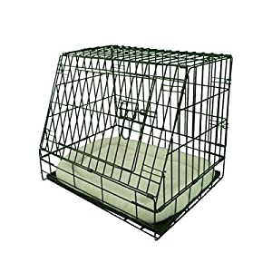 Ellie-Bo Deluxe Sloping Puppy Cage Folding Dog Crate with Non-Chew Metal Tray Fleece and Slanted Front for Car 17
