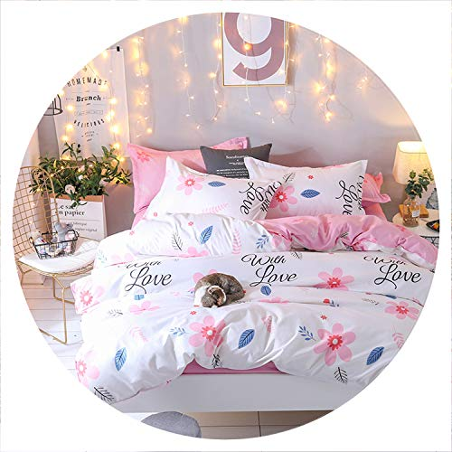 Secret-shop Bedding Set Luxury Pink Love 3/4pcs Family Set Include Bed Sheet Duvet Cover Pillowcase Boy Room Flat Sheet No Filler 2019 Bed,The 12th,Full Cover 150by200 ()
