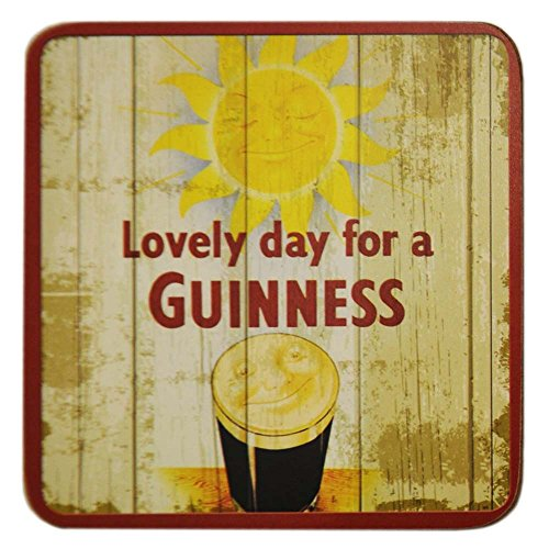 - Nostalgic Guinness Coaster With Smiling Pint And Smiling Sun Design
