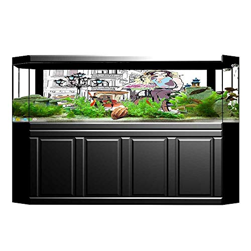 - JiahongPan Aquarium Background Girl with Bike and Roses in a Street Town Musician Romantic Tour in City Pink Wallpaper Fish Tank Backdrop Static Cling L23.6 x H19.6
