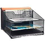 Samstar Mesh Desk File Organizer Letter Tray Holder, Desktop File Folder Holder with 3 Paper Trays and 2 Vertical Upright Section, Black.