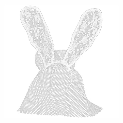 [Insho Lace Rabbit Ears Headband Veil Mask for Prom, Party,Mardi Gras,Costume Cosplay - White] (Lace Bunny Ears Costume)