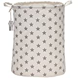 Sea Team 19.7' Large Sized Waterproof Coating Ramie Cotton Fabric Folding Laundry Hamper Bucket Cylindric Burlap Canvas Storage Basket with Stylish Grey Stars Design