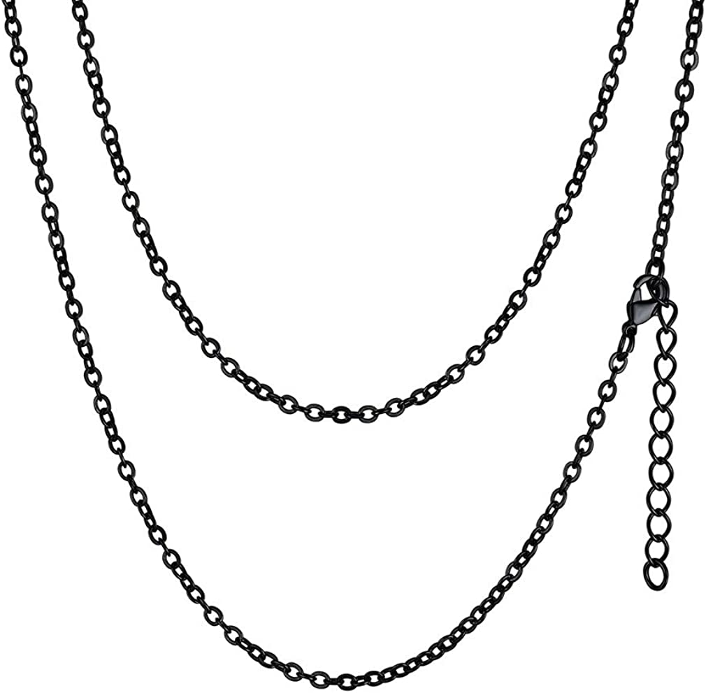 """FaithHeart 3/6MM Twisted Rolo Rope Chains, 18K Gold Plated/316L Stainless Steel DIY Hip Hop Necklace for Men/Women, Chain for Pendant 18""""-30"""" Customize Available (Send Gift Box)"""