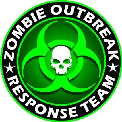 Sassy Stickers Zombie Outbreak Response Team Green Skull Vinyl Decal Sticker 5