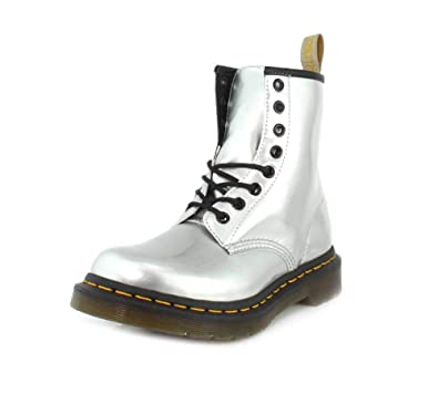 4d39f426789 Dr.Martens 1460 Vegan 24865040 Chrome Paint Metallic Synthetic Womens Boots  - Silver - 4