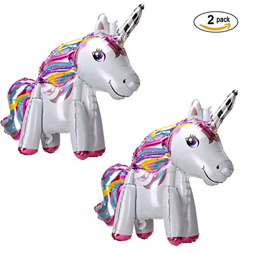 Langxun 2 Pack 3D Foil Unicorn Balloons for Unicorn Party Supplies and Girls Birthday Decorations, Birthday Party Supplies for Women