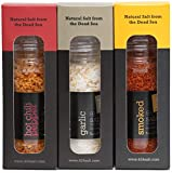 424's Gourmet Dead Sea Salt - Happy Series Gift Pack – Garlic Salt, Hot Chili Salt and Smoked Salt Flavored - Sea Salt In Elegant Refillable Glass Grinder - Organic flavors - Kosher - Vegan - 3X3.8oz.