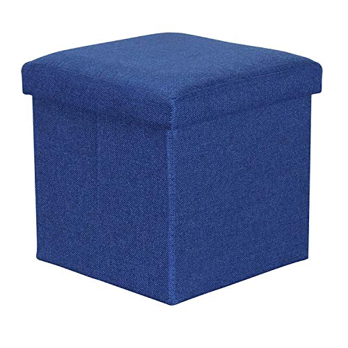 ABTRIX WITH AB Folding Organizer Storage Ottoman Bench Footrest Stool Coffee Table Cube, Camping Fishing Toys Chest Stool, Quick and Easy Assembly, 22L Capacity, Padded (30X30X30 cm, Dark Blue)