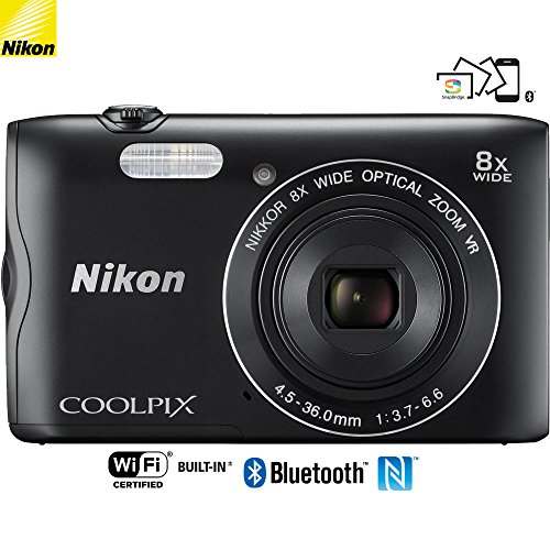 Nikon Coolpix A300 20.1MP 8X Optical Zoom NIKKOR WiFi Black Digital Camera - (Certified Refurbished) by Nikon