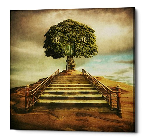 Epic Graffiti Treehouse Giclee Canvas Wall Art by Dariusz Klimczak, 18'' x 18'', Brown by Epic Graffiti