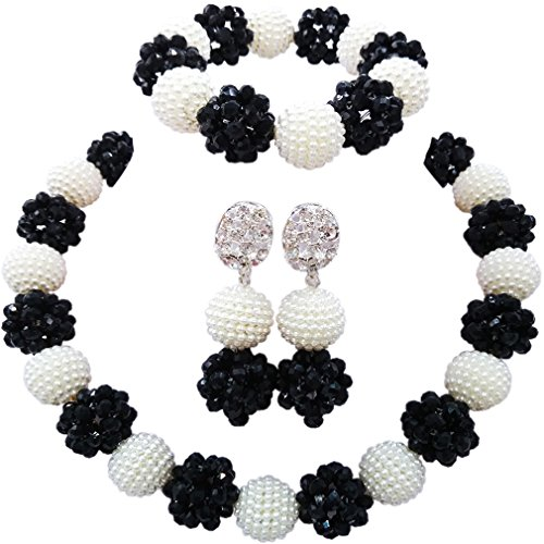 (aczuv Simulated Pearl and Crystal Ball Beaded Necklace Jewelry Set African Wedding Beads (White Black))