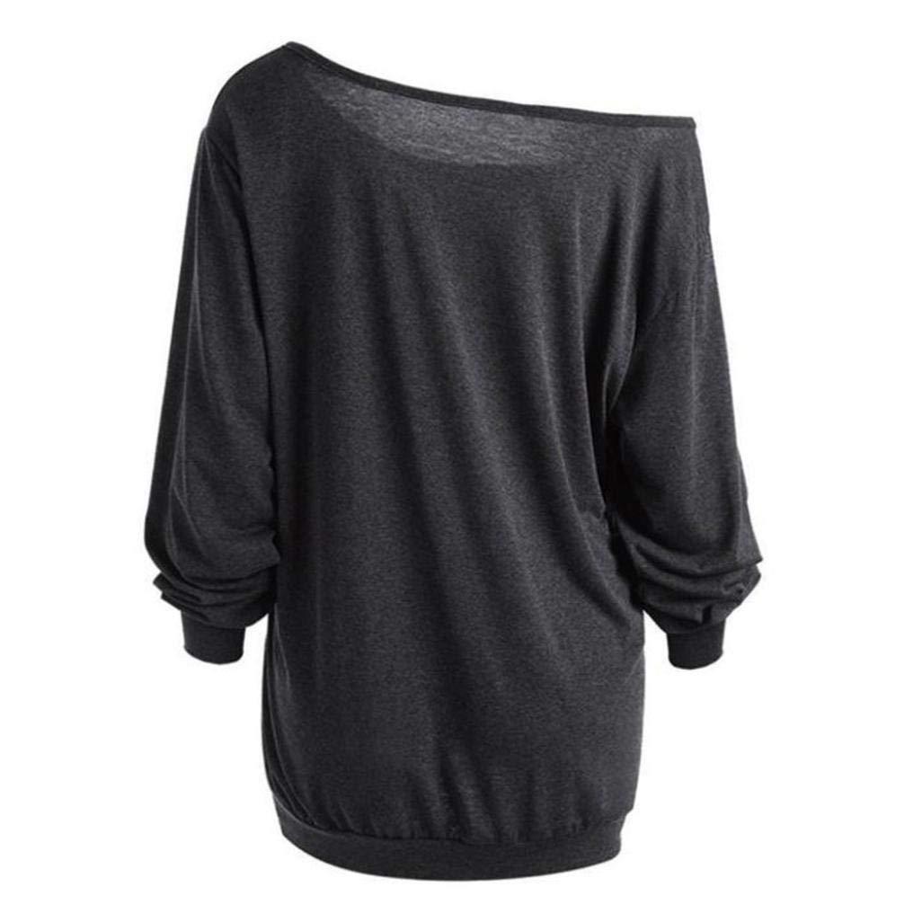 Camiseta impresa de la blusa,Beikoard Las Mujeres más el Tamaño de Manga Larga Halloween Enojado Calabaza Inclinación Cuello Tee Blusa Tops: Amazon.es: Ropa ...