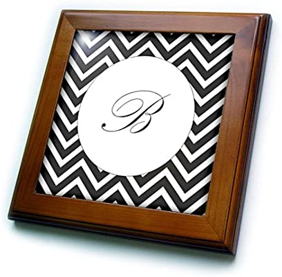 3dRose ft/_220945/_1 Print of Script B on Black White Chevron Stripes Framed Tile 8 x 8