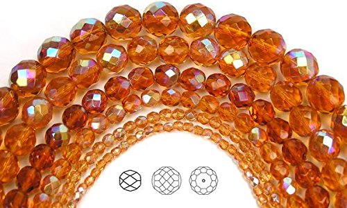 3mm (135 beads) Topaz AB, Czech Fire Polished Round Faceted Glass Beads, 16 inch strand