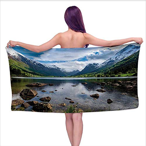 Bensonsve Bath Towel Baby Nature,Mountains River and Open Sky Natural Beauties Norway Fjords Nordic Landscape,White Green Brown,W31 xL63 for Bathroom Striped
