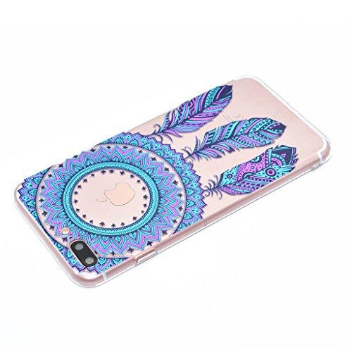 "iPhone 7 Plus Hülle , Leiai Mode Blau Campanula TPU Transparent Weich Tasche Schutzhülle Silikon Handyhülle Stoßdämpfende Schale Fall Case Shell für Apple iPhone 7 Plus 5.5"""