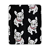 My Little Nest Black and White French Bulldog Soft Throw Blanket Lightweight MicrofiberCozy Warm Blankets Everyday Use for Bed Couch Sofa 50'' x 60''