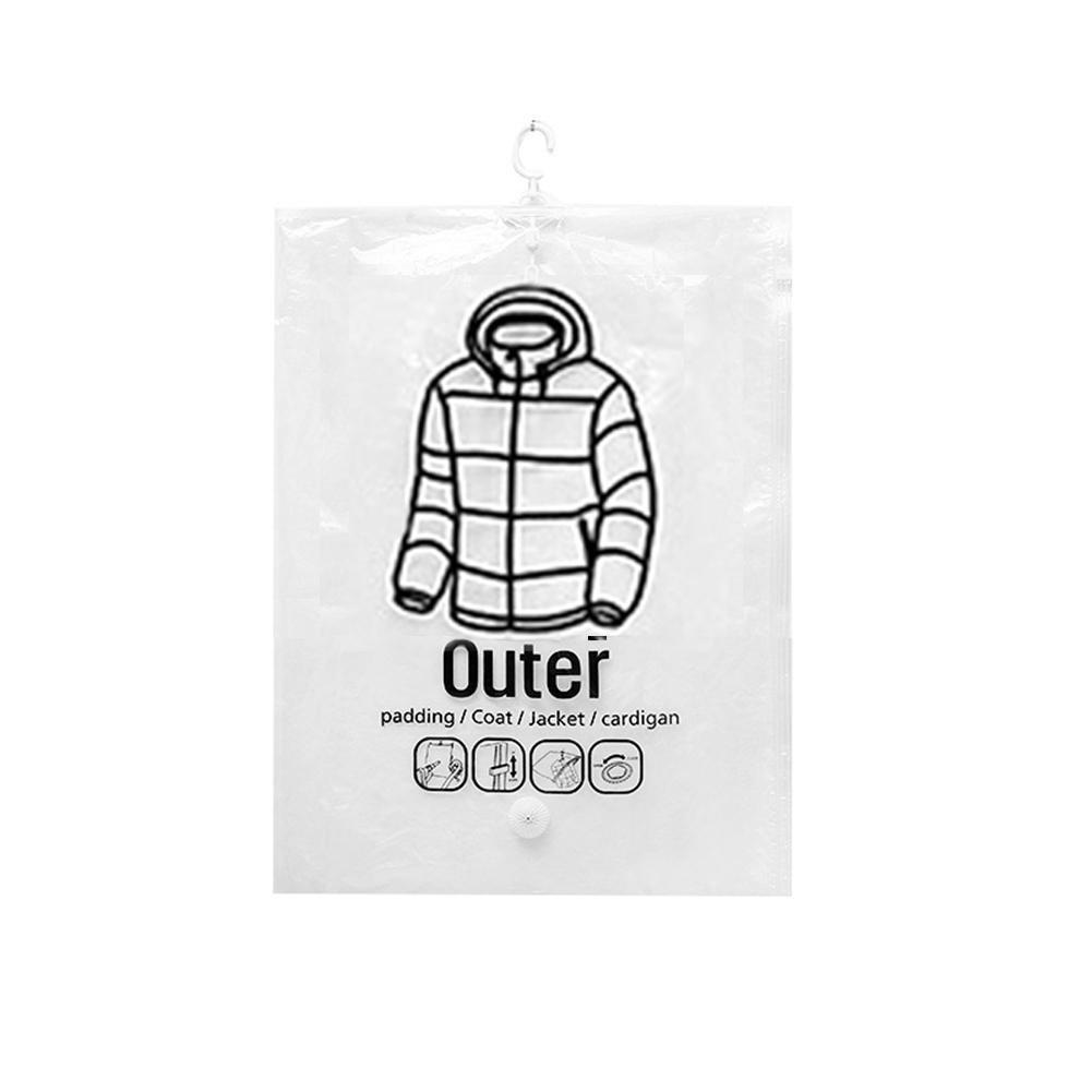Housses de V/êtements Transparent en plastique,Protection V/êtements Couvre avec Zip sac de rangement de v/êtements de poche Type lat/éral de sac sous vide pour Chemise Costume Doudoune(Grand,Trompette)