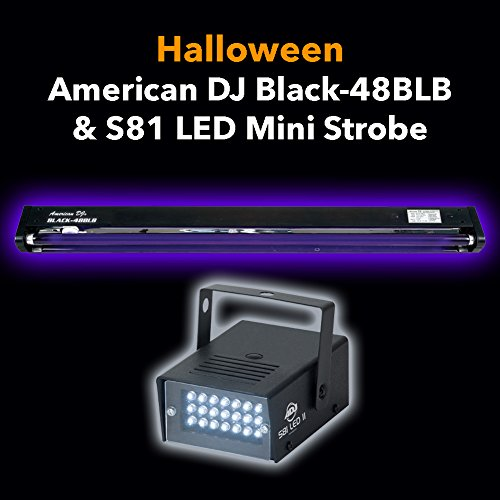Halloween Pack American DJ Black-48BLB 48'' Black Light and S81 LED II Strobe Light by American DJ