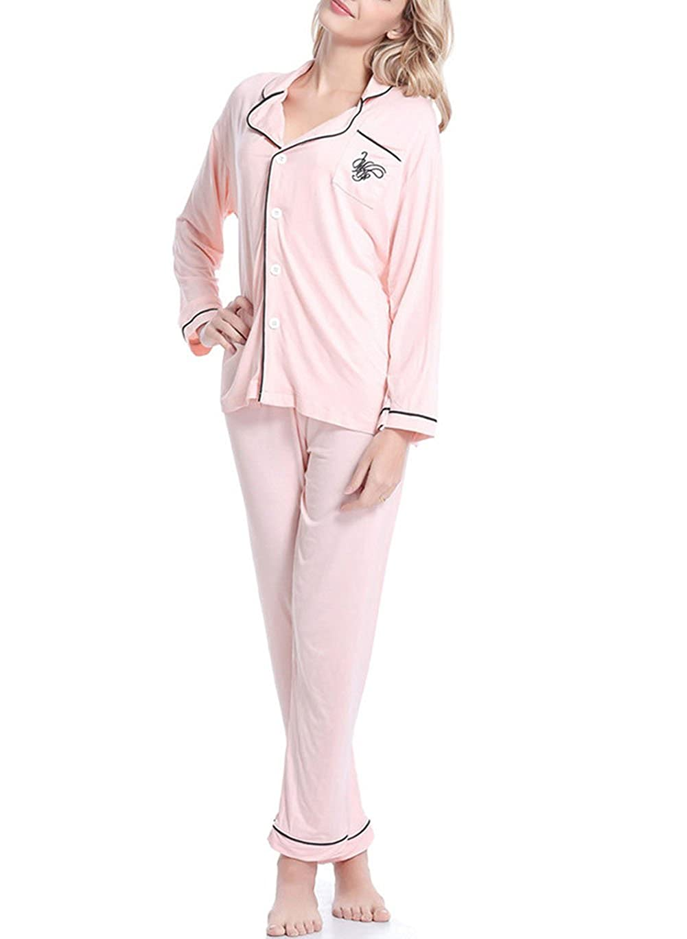 YAXIUFEN Women Plus Size Long Sleeve Breastfeeding Maternity Nursing Pajama Set Nightwear Medium