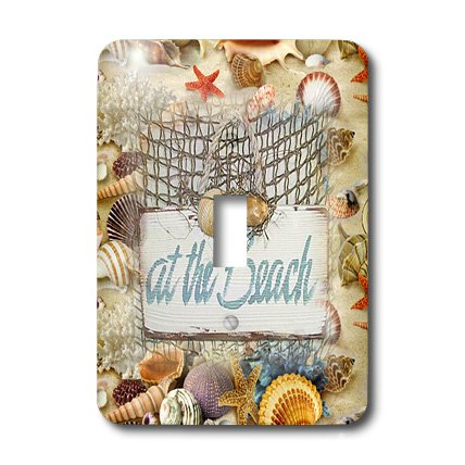 (3dRose lsp_109918_1 At The Beach Sign with Seashell Background Single Toggle Switch)