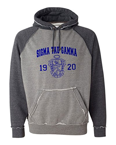 Sigma Tau Gamma Vintage Heather Hooded Sweatshirt X-Large Smoke