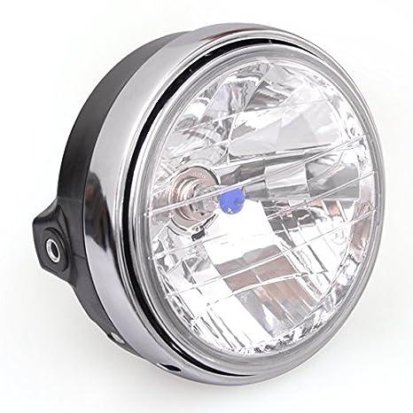 Black 7 Motorcycle Front Headlight H4 Bulb Amber For Honda