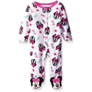 Disney Baby Girls' Minnie Mouse Footie Sleeper, White/Pink, 6-9 Months