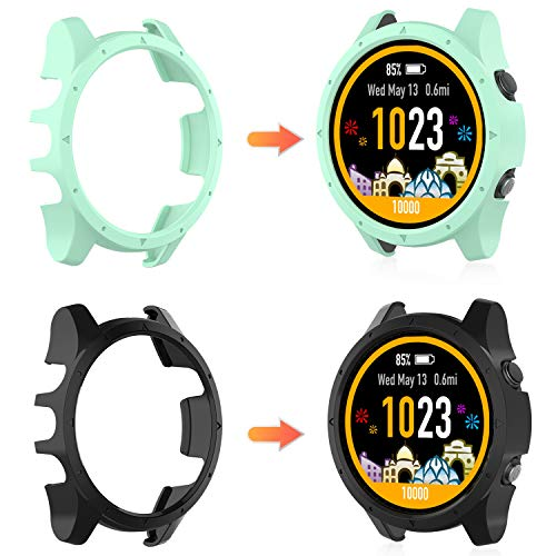 MWOOT 2 Pieces Case Cover Compatible with Garmin Forerunner 945 and Garmin Forerunner 935, Shockproof Protective Case for Forerunner 945/935 Smart Watch Protection Black and Green