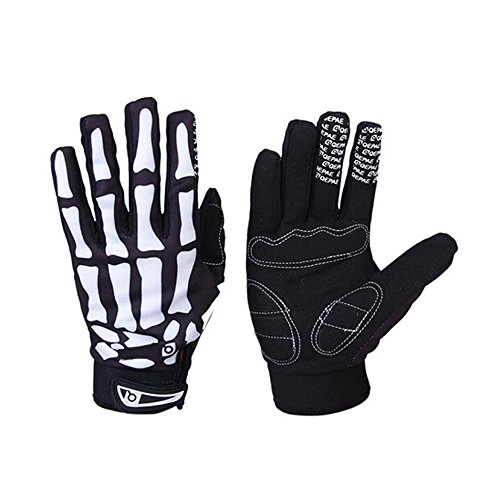 Winter WindStopper Thermal Fleece Bone Skeleton Cycling Gloves Outdoor Sport Bicycle MTB Racing Full Finger Cycling Riding Motorcycle Protective Hand Gloves for Women Men Black (Medium)