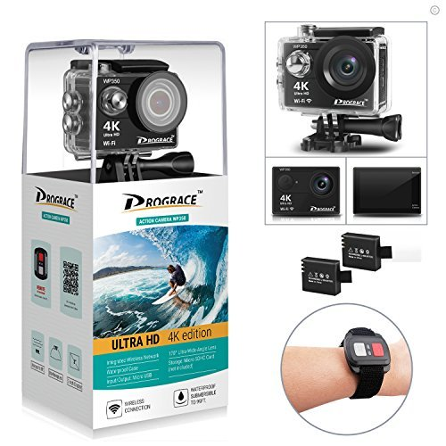 DROGRACE WP350 Sports DV Camera Wifi Video Action Camera Waterproof 4K 60fps 30fps 1080p Full HD for Youtube Underwater Remote Digital Camera Accessories Kit 12MP 170 Wide Angle 6G Lens Drive Housing Kit