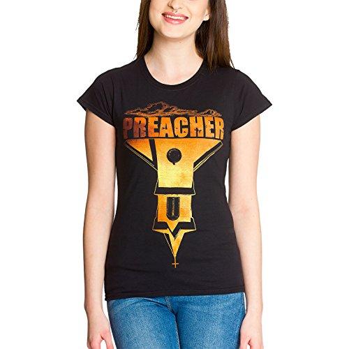T-shirt girlie Preacher logo pour dame coton noir