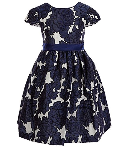 Bonnie Jean Cap Sleeve Jeans (Bonnie Jean Big Girls 7-16 Floral Brocade Holiday Dress (12, Navy))