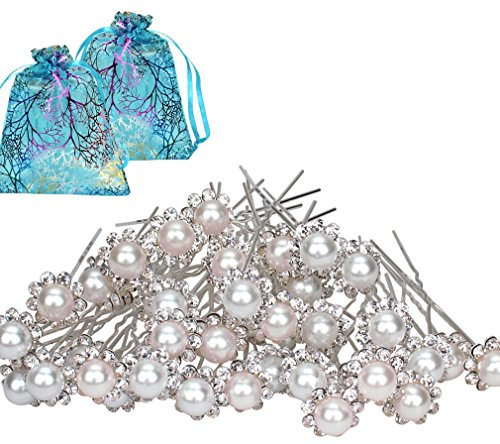 Jaciya 40 Pack Crystal Wedding Bridal Pearl Flower Hair Pins Clips with Two Jewelry Bags, White