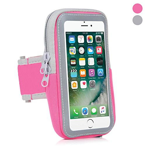 Sports Armband: Cell Phone Holder Case Arm Band Strap with Zipper Pouch/Mobile Exercise Running Workout for Apple iPhone 6 6S 7 8 iPod Touch Android Samsung Galaxy S6 S7 S8 Edge LG HTC Pixel (Pink)
