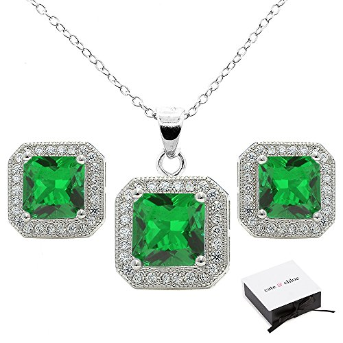 Cate   Chloe Londyn Jewelry Set  18K White Gold Green Emerald Pendant Necklace And Stud Earrings  Bridal Jewelry Set  Necklace Earring Set For Women  Princess Cut Emerald Jewelry Set  Msrp  199