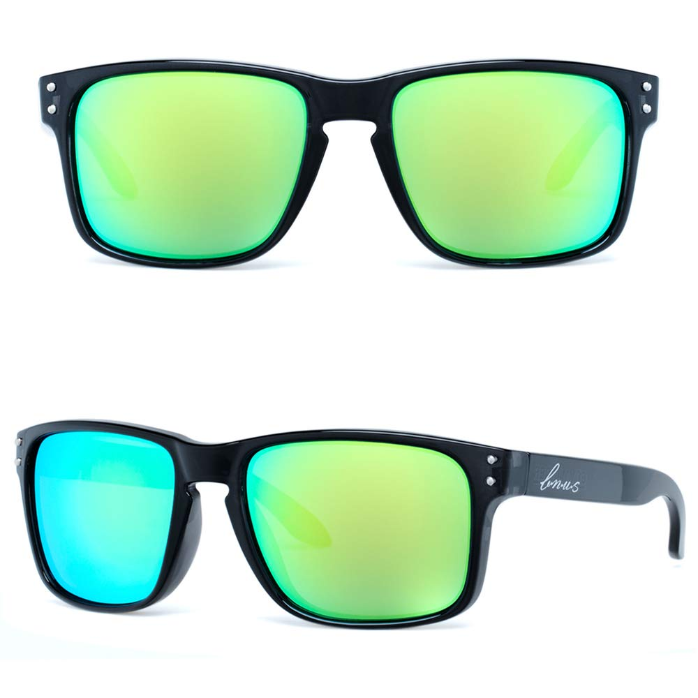 Bnus italy made classic corning real glass lens polarized sunglasses for men X-large (Black/Green Flash Polarized 59mm(XL), Never Scratch Mirror Coating)
