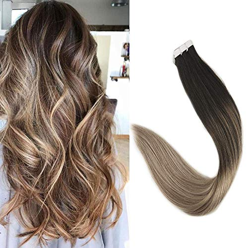 Full Shine 18inch Balayage Highlighted PU Tape in Hair Extensions 40Pcs 100gram Adhensive Seamless Color Balayage Color #1B Fading to #8 and #22 Seamless Skin Weft Extensions