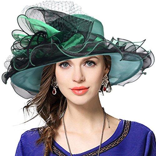 - JESSE · RENA Women's Church Derby Dress Fascinator Bridal Cap British Tea Party Wedding Hat (Two-Tone-Green, M)